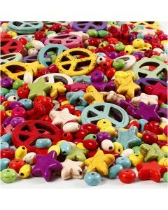 Howlite Beads, size 4-25 mm, hole size 1,5 mm, Content may vary , bold colours, 840 pc/ 1 pack