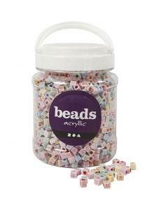 Letter Beads, size 6x6 mm, hole size 3 mm, 700 ml/ 1 tub