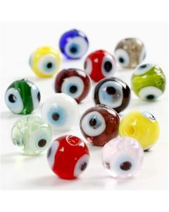 Eye Beads, D: 10 mm, hole size 1,2 mm, assorted colours, 40 cm/ 1 pack