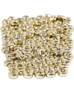 Letter Beads, D: 7 mm, hole size 1,2 mm, gold, 165 g/ 1 pack