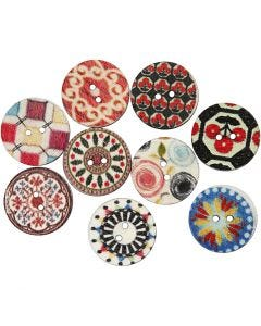 Wooden Buttons, D: 20 mm, 9 pc/ 1 pack