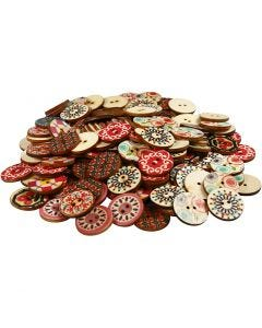 Wooden Buttons, D: 20 mm, 180 pc/ 1 pack