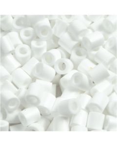 Fuse Beads, size 5x5 mm, hole size 2,5 mm, medium, white (32221), 1100 pc/ 1 pack