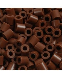 Fuse Beads, size 5x5 mm, hole size 2,5 mm, medium, chocolate (32249), 6000 pc/ 1 pack