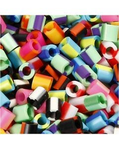 Fuse Beads, size 5x5 mm, hole size 2,5 mm, medium, stripe, 1100 asstd./ 1 pack