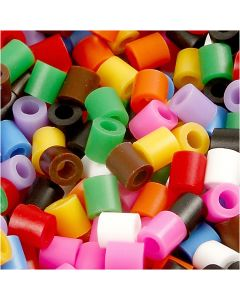 Fuse Beads, size 5x5 mm, hole size 2,5 mm, medium, standard colours, 5000 asstd./ 1 pack
