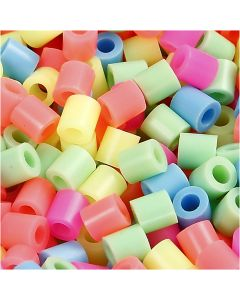 Fuse Beads, size 5x5 mm, hole size 2,5 mm, medium, pastel colours, 6000 asstd./ 1 pack