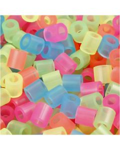 Fuse Beads, size 5x5 mm, hole size 2,5 mm, medium, neon colours, 5000 asstd./ 1 pack