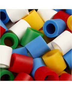 Fuse Beads, size 10x10 mm, hole size 5,5 mm, JUMBO, standard colours, 3200 asstd./ 1 pack