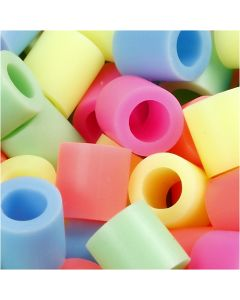 Fuse Beads, size 10x10 mm, hole size 5,5 mm, JUMBO, pastel colours, 1000 asstd./ 1 pack