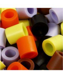 Fuse Beads, size 10x10 mm, hole size 5,5 mm, JUMBO, autumn mix, 2450 asstd./ 1 pack