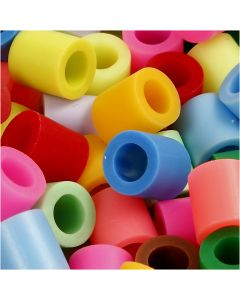 Fuse Beads, size 10x10 mm, hole size 5,5 mm, JUMBO, assorted colours, 2450 asstd./ 1 bucket