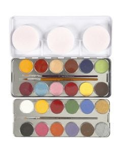 Water-based Face Paint, assorted colours, 24 colour/ 1 set