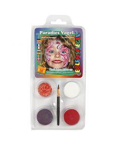 Eulenspiegel Face Paint - Motif Set, paradise bird, assorted colours, 1 set
