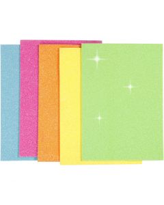 EVA Foam Sheets, A5, 150x210 mm, thickness 2 mm, assorted colours, 5 sheet/ 1 pack