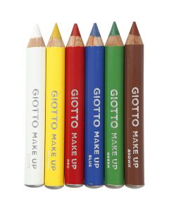 Make Up Pencils, L: 9 cm, standard colours, 6 pc/ 1 pack