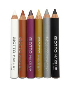 Make Up Pencils, L: 9 cm, additional colours, 6 pc/ 1 pack