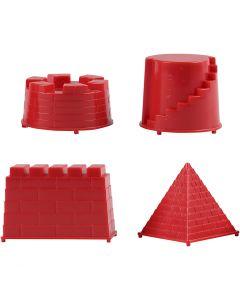 Casting Mould, castle, size 5,5-8,5 cm, 4 pc/ 1 pack