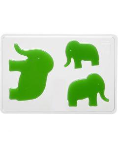 Casting Mould, elephant, H: 6+8+10 cm, size 14,9x22 cm, 1 pc