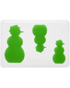Casting Mould, snowman, H: 6+8+10 cm, size 14,9x22 cm, 1 pc