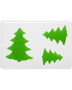 Casting Mould, fir tree, H: 6+8+10 cm, size 14,9x22 cm, 1 pc