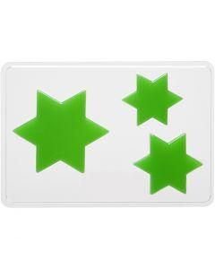 Casting Mould, star, H: 6+8+10 cm, size 14,9x22 cm, 1 pc