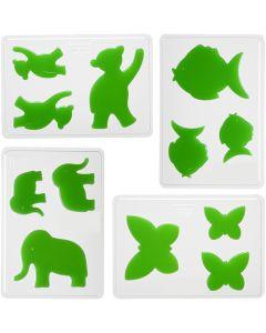 Casting Mould, animals, H: 6+8+10 cm, size 14,9x22 cm, 4 pc/ 1 pack