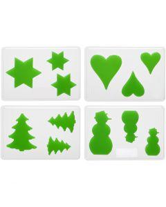 Casting Mould, christmas, H: 6+8+10 cm, size 14,9x22 cm, 4 pc/ 1 pack
