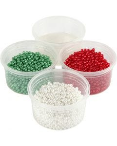 Pearl Clay®, green, red, white, 1 set