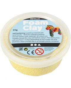 Foam Clay®, metallic, yellow, 35 g/ 1 tub