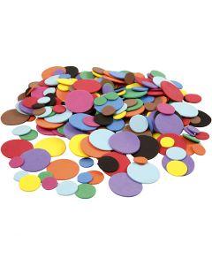 EVA Foam Circles, D: 12+20+32 mm, assorted colours, 300 asstd./ 1 pack
