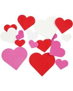 EVA Foam Hearts, size 20-50 mm, assorted colours, 200 asstd./ 1 pack