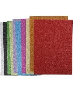 EVA Foam Sheets, A4, 210x297 mm, thickness 2 mm, glitter, assorted colours, 10 ass sheets/ 1 pack