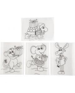 Shrink Plastic Sheets with motives, 10,5x14,5 cm, matt transparent, 4 sheet/ 1 pack
