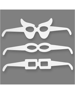 Novelty Glasses, H: 4,5-10 cm, L: 32 cm, 230 g, white, 16 pc/ 1 pack