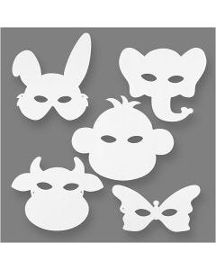 Animal Masks, H: 13-24 cm, W: 20-28 cm, 230 g, white, 16 pc/ 1 pack