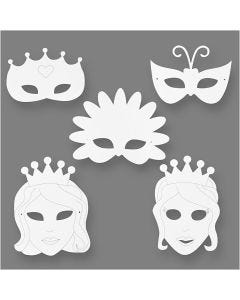 Fairy Tale Masks, H: 13,5-25 cm, W: 17-25 cm, 230 g, white, 16 pc/ 1 pack