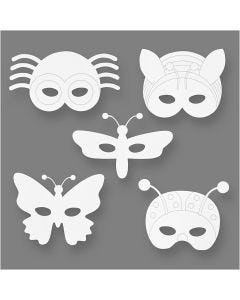 Insect Masks, H: 14-17 cm, W: 19,5-23 cm, 230 g, white, 16 pc/ 1 pack