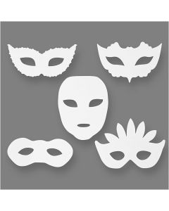 Masquerade Masks, H: 8,5-19 cm, W: 15-20,5 cm, 230 g, white, 16 pc/ 1 pack