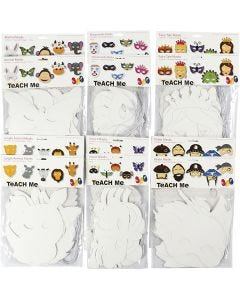 Card Masks, H: 15-22 cm, W: 24-25 cm, 230 g, white, 192 pc/ 1 pack