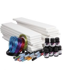 Long Watercolour Canvas Art, white, 1 set
