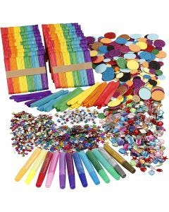 Glitter and Wood Sticks, assorted colours, 1 set
