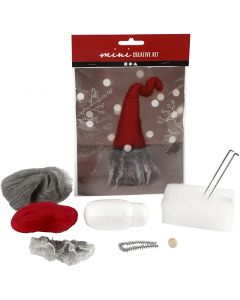 Creative mini kit, Christmas gnome w/grey beard, H: 13 cm, 1 pc/ 1 set