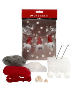 Creative mini kit, Nosy elves on a string, H: 6 cm, 3 pc/ 1 set