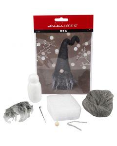 Creative mini kit, Christmas gnome, H: 13 cm, grey mixture, 1 set