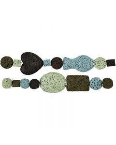 Luxury Bead Harmony, D: 6-37 mm, hole size 2 mm, blue/green harmony, 1 set