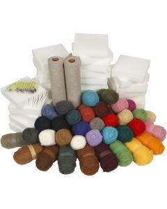 Needle Felting Kit - School Class Pack, assorted colours, 1 set