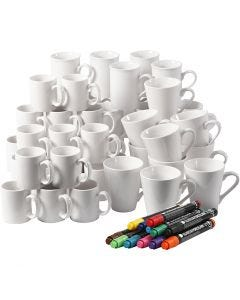 Porcelain 48 Mugs, H: 7-10 cm, white, 1 set