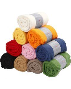 Fleece, L: 125 cm, W: 150 cm, assorted colours, 10 pc/ 1 pack