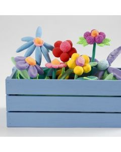 A Window Box with Flowers made from Silk Clay and Foam Clay